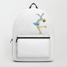 Girl in blue dress. Figure skater. Backpack