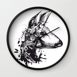 Deer with floral ornamentation Wall Clock