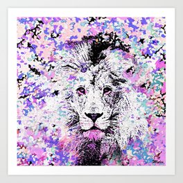 LION PINK and WHITE Art Print