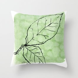 Two Leaves on Green Throw Pillow