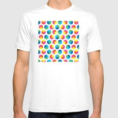Cube pattern Mens Fitted Tee MEDIUM White