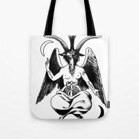 baphomet Tote Bags featuring BAPHOMET by carolin walch