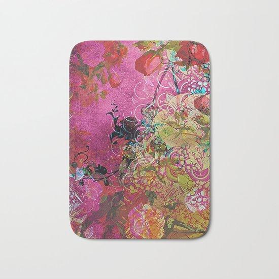 Silk Pink Floral Bath Mat