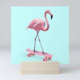 SKATE FLAMINGO Mini Art Print