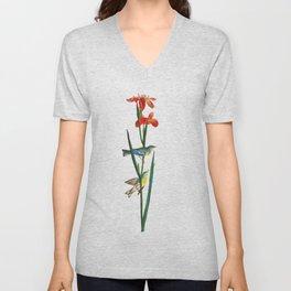 Bird & Red Flowers Unisex V-Neck