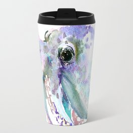 Octopus (soft gray, violet, turquouse) Travel Mug