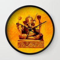 ganesha Wall Clocks featuring Ganesha by Ninamelusina