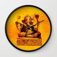 ganesha Wall Clocks featuring Ganesha by Ninamelusina