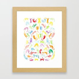 Neon Kittens Framed Art Print