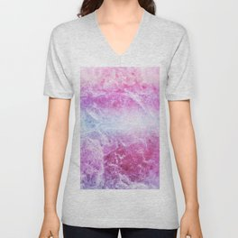 Enigmatic Pink Purple Blue Marble #1 #decor #art #society6 Unisex V-Neck