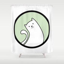 Little White Derpy Kitty Shower Curtain
