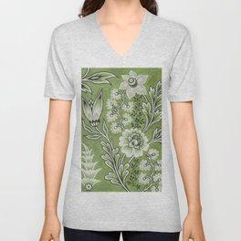 Antique Floral Drawing in Green Unisex V-Neck