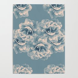 Blush Blue Peony Flower Bouquet #1 #floral #decor #art #society6 Poster