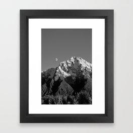 Moon Over Pioneer Peak B&W Framed Art Print