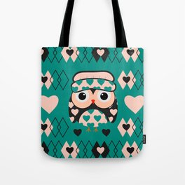 Owl and heart pattern Tote Bag