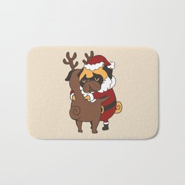 Pug Hugs Christmas Bath Mat
