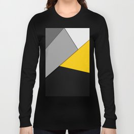 Simple Modern Gray Yellow and Black Geometric Long Sleeve T-shirt