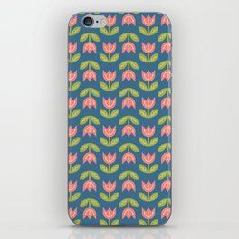 Modern coral green navy blue tulips floral illustration iPhone Skin