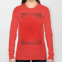 Romantic aqua and pink flower, digital abstracts Long Sleeve T-shirt