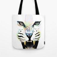 cheetah Tote Bags featuring Cheetah  by Tetevi Teteh