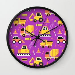 Constructon Trucks in Purple Wall Clock