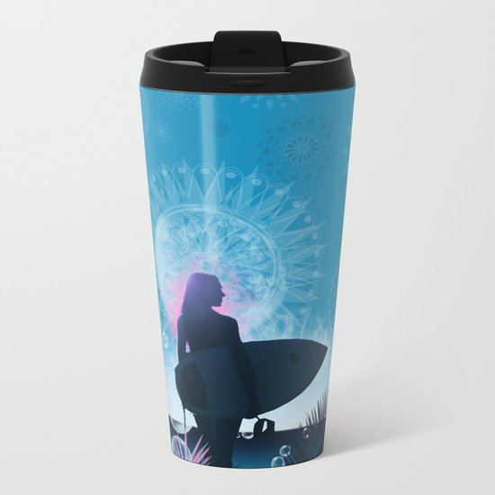 blue summer Metal Travel Mug