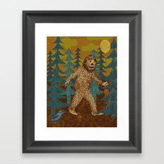 Bigfoot birthday card Framed Art Print