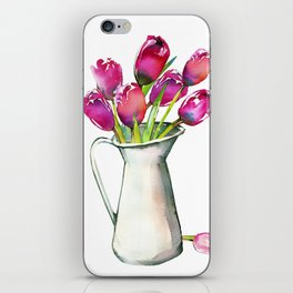 Red Tulips in Pitcher iPhone Skin