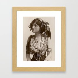 BEAUTIFUL GYPSY GIRL, Circa 1900 Framed Art Print
