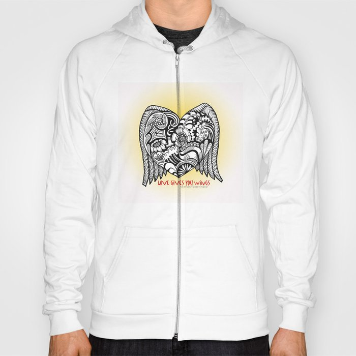 Love Gives You Wings A Zentangle Illustration for Lovers Hoody