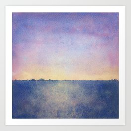 Watercolour Sunset Textural Abstract Painting Art Print