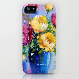 Bouquet of peonies in a vase iPhone Case