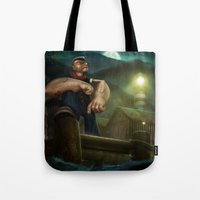 popeye Tote Bags featuring Popeye by Geison Araujo
