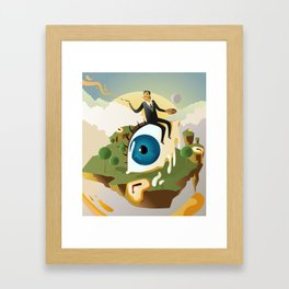 great surrealism painter on big floating eye in island with clocks Framed Art Print