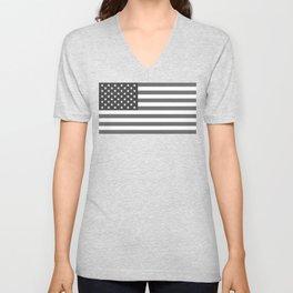 Black and White US Flag, High Quality Image Unisex V-Neck