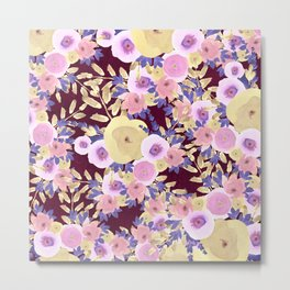 Watercolor pink lavender yellow burgundy floral Metal Print