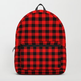 Original Berry Red and Black Rustic Cowboy Cabin Buffalo Check Backpack