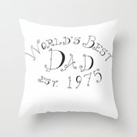 1975 Throw Pillows featuring World's Best Dad est. 1975 by Roisin Mallon