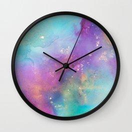 Alcohol Ink - Galaxy Meets Ocean Wall Clock