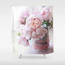 Impressionistic Dreamy Peony Peonies Wall Art Home Decor Shower Curtain