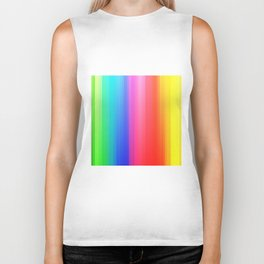 Geometric colorful rainbow lines print Biker Tank