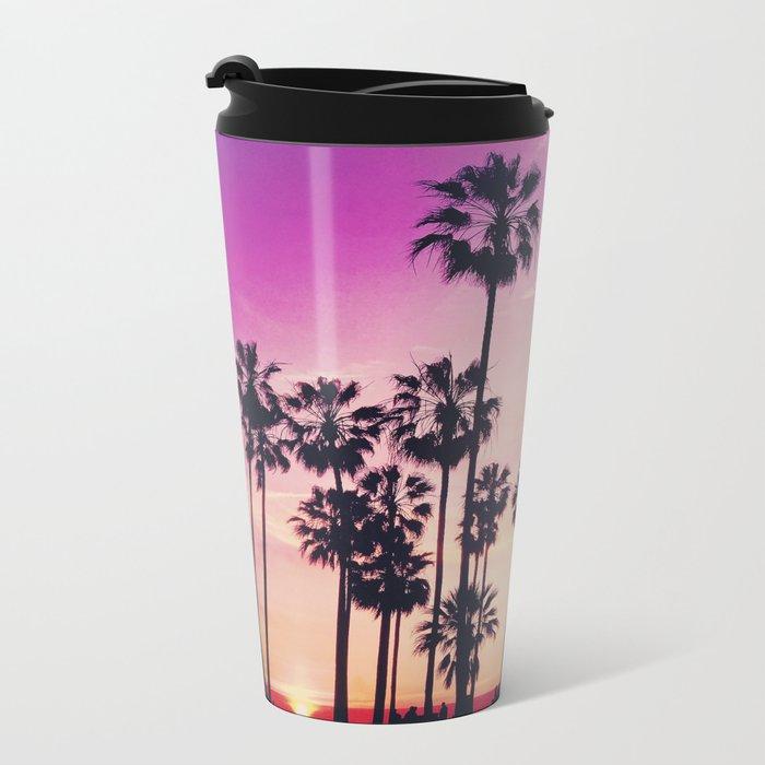 Sunset Palms Purple Tropical Sky Metal Travel Mug