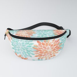 aqua and coral flowers Fanny Pack