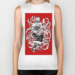 Lady in Belts Fantasy on red.  Yury Fadeev. Biker Tank