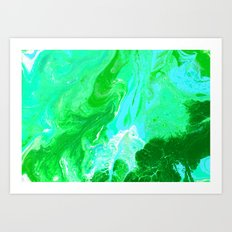 Green, Blue, and White Fluid Acrylic Abstract Painting 2 Art Print