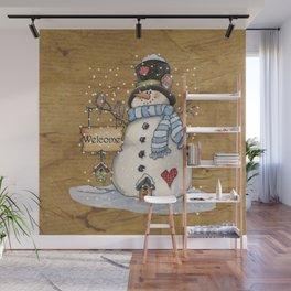 Folk Art Snowman Christmas Wall Mural
