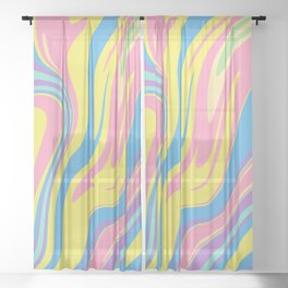Bold Holographic Color Swirls Sheer Curtain