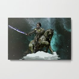 Dan on a Horse with a Lightning Sword in Space Metal Print