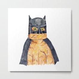 Bat man inspired cat Painting Wall Poster Watercolor Metal Print