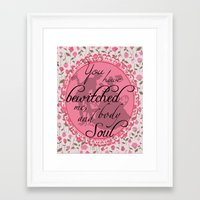 pride and prejudice Framed Art Prints featuring Pride & Prejudice Quote by Canis Picta